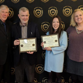 "2018 Pencraft Award Dinner and Ceremony Brad Chisholm and Claire Kim Double Award Winning Authors for ""Kat & Maus"" and ""K-Town Confidential"" with David and Stacie Hearne (AuthorsReading.com)"