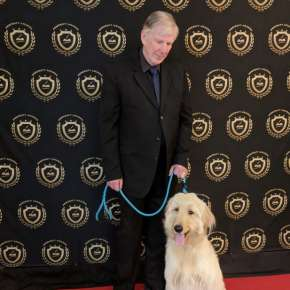2018 Pencraft Award Dinner and Ceremony David Hearne (AuthorsReading.com) and Harvey (BookNookInn.com Mascot and welcome committee and all around plate cleaner)�