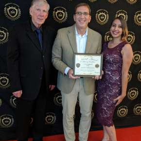 "2018 Pencraft Award Dinner and Ceremony Guillermo Marquez-Sterling Award Winning Author of ""Praying for an Eclipse: Mother Moon(Volume 1)"" with his daughter and David Hearne (AuthorsReading.com)�"
