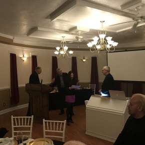 "2018 Pencraft Award Dinner and Ceremony Brad Chisholm and Claire Kim Double Award Winning Authors for ""Kat & Maus"" and ""K-Town Confidential"" Claire receiving a certificate from Alan Bourgeois from Texas Authors"