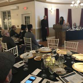 "2018 Pencraft Award Dinner and Ceremony Kishan Paul Award Winning Author Over All Book of the Year ""The Second Wife"" addresses the audience with her acceptance speech and offers advice about writing for the publisher and following your passions."